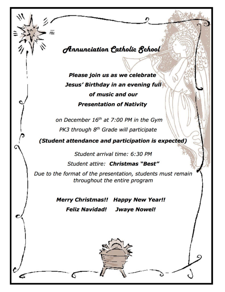 christmas program this week on friday december 16th annunciation
