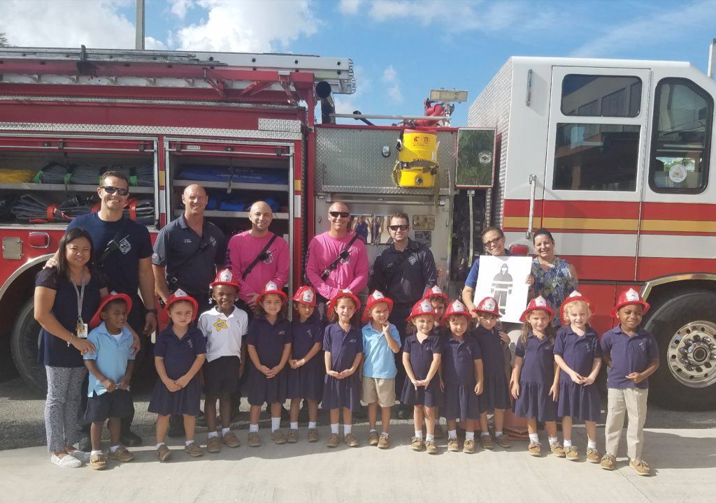Annunciation Catholic School Pre-K Learn About Fire Safety from Broward Fire Department